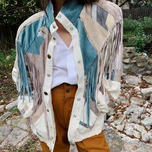 Jackets & Blazers - Vintage suede fringe canvas boho jacket
